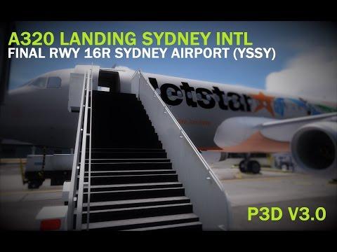 A320 LANDING RWY 16R SYDNEY INTL - P3D V3