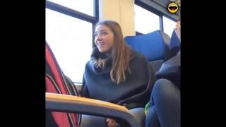 ردود فعل غريبة الفتيات بعد رؤية قضيب منتصب في القطار 😱👀🔞🇺🇸