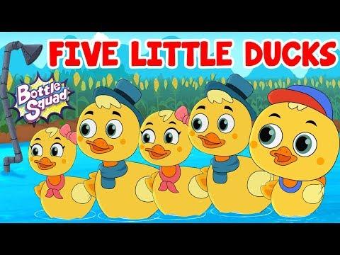 Five Little Ducks | Nursery Rhymes | Kids Songs | Bottle Squad Superheroes | Cartoon Song