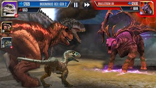 T-REX, I-REX, VELOCIRAPTOR GEN 2 Vs MAELSTROM 08 || Jurassic World The Game [FHD-1080p]