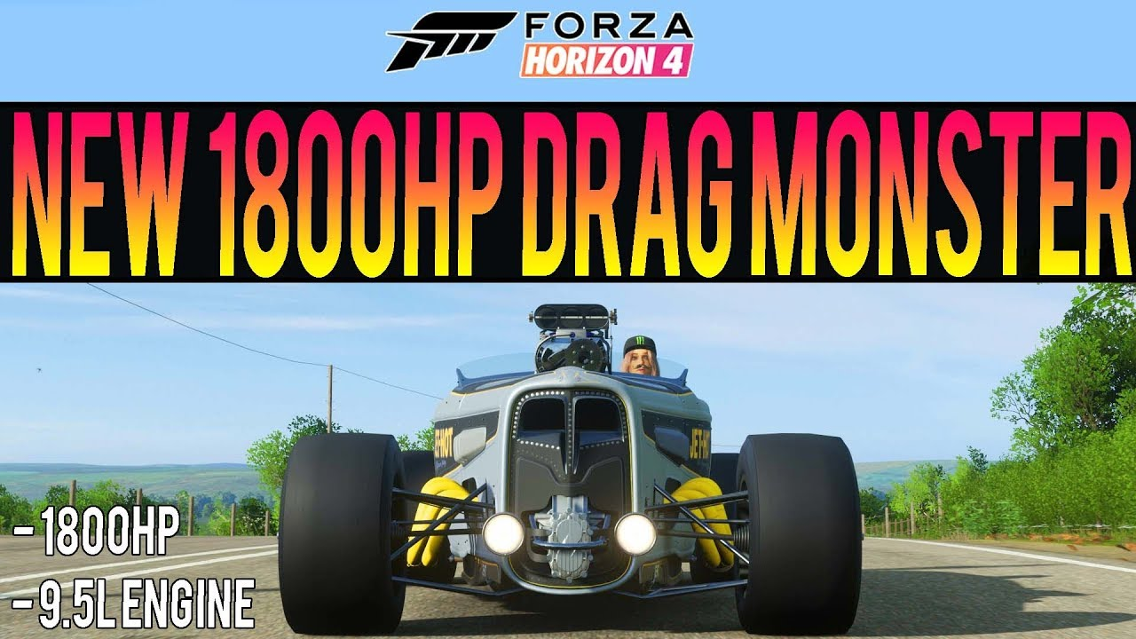 Forza Horizon 4 - INSANE New 1800HP Drag Monster! - 9 5L Ford Double Down