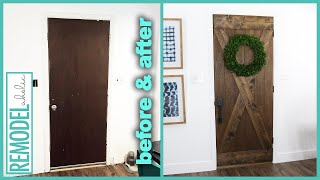 $25 DIY Barn Door; Old Door Makeover
