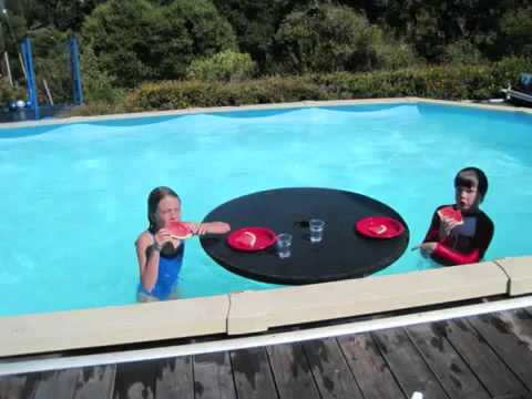 Pooldisk Floating Table In The Pool On A Perfect Summer