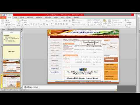 BID OPENING NIC ETENDER TUTORIAL EPROCUREMENT