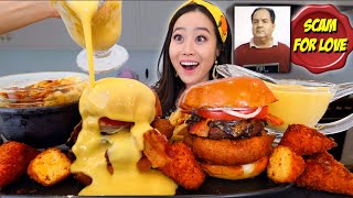 We Tried To Re-Create Viral Cheese Covered Burger with Fried Mac N Cheese Mukbang