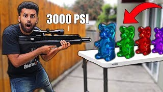 BLASTING SATISFYING Things With A 3000 PSI AIRBOW 2!!! *GIANT GUMMY BEARS VS ARROW BLASTER*