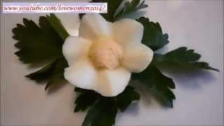 Цветок из яйца.  Украшения стола.  Как красиво нарезать яйцо онлайн