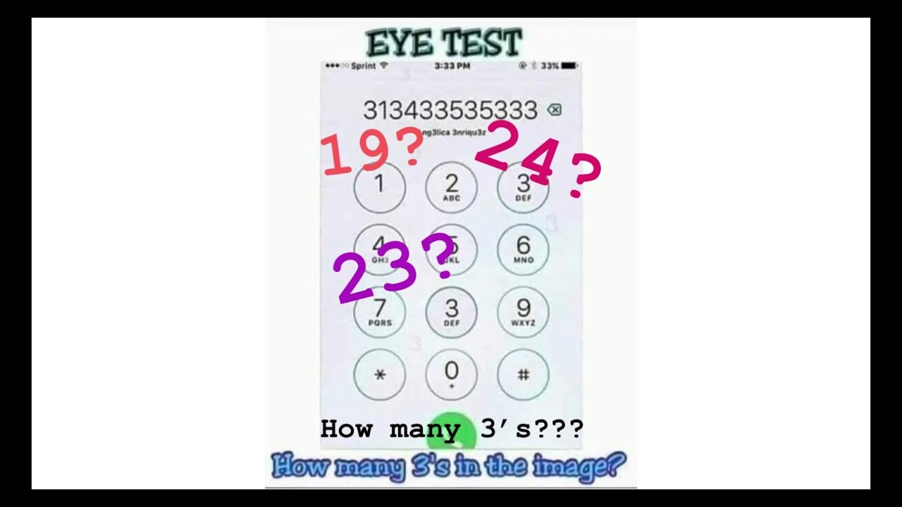 Eye Test How Many 3 S Can You Find In The Image Here Is My Answer Mel Alcantara Youtube How many 4's can you see? eye test how many 3 s can you find in