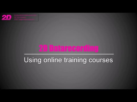 Online training: Improving your skills on how to work with 2D data recording