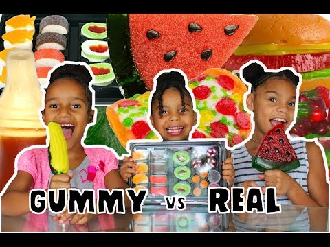 GUMMY FOOD vs REAL FOOD Challenge!!!