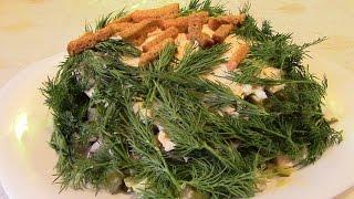 """Салат """"На траве дрова"""".  Вкуснейший салат с ветчиной и сухариками."""