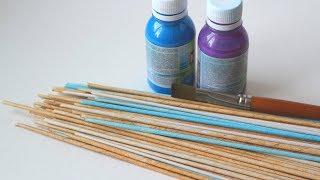 Красим газетные трубочки для плетения