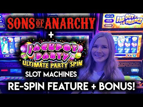 Jackpot Party Ultimate Party Spin! Sons of Anarchy! Slot Machines!! BONUS + Re-Spin Features!!