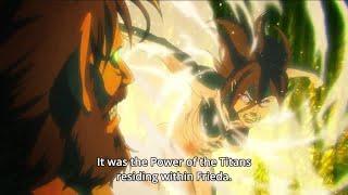 Grisha Jaeger Titan Vs Frieda Reiss Titan Form   Attack On Titan Season 3   Eng Sub