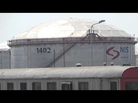 The oil refinery in Pancevo , Serbia : railway part of the refinery - SERBIAN RAILWAYS