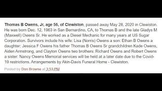Zodiac Killer discloses death of Obama brother Thomas Beauchamp Owens Jr of Clewiston, Florida