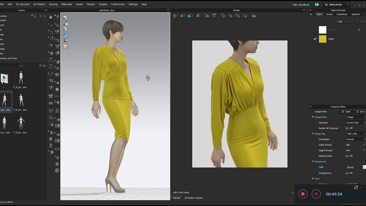 The Yellow Dress in Clo3d 5 0 – The Fashion Tech