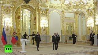Владимир Путин принимает верительные грамоты новых послов иностранных государств