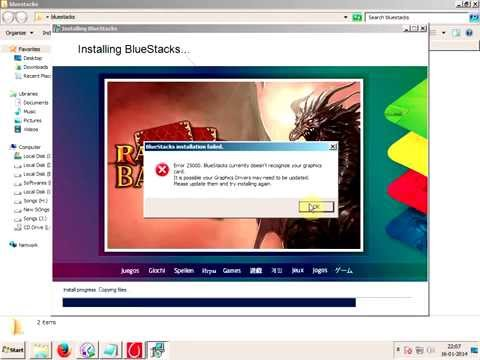 fixing bluestacks error 25000 without updating graphics card driver