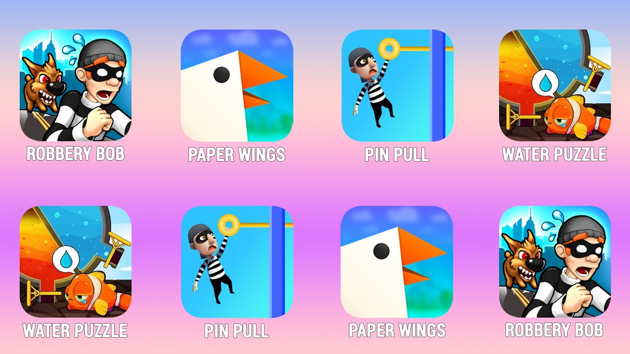 ROBBERY BOB Paper Wings Pin Pull Water Puzzle Walkthrough iOs Android Power of Gameplay