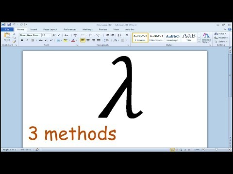 How to insert lambda symbol in Microsoft Word