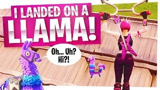 I LANDED ON A LOOT LLAMA! - The BEST way to win in Fortnite
