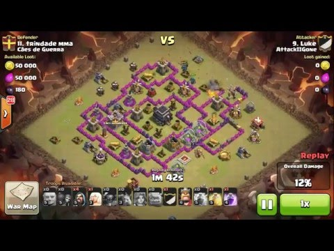 Clash of Clans close call - Golem explosion splash damage is difference between zero and 2 stars