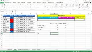Contar dados no Excel, vamos utilizar as funções cont.núm, cont.valores, contar.vazio e cont.se