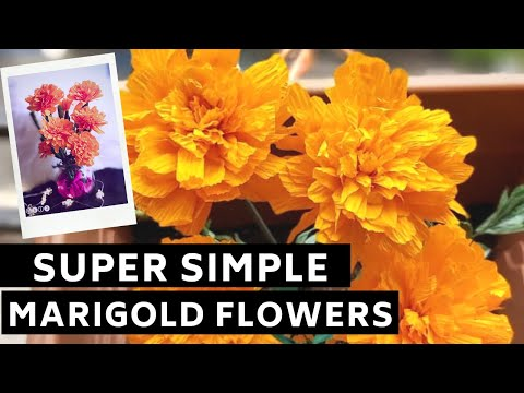 HOW TO MAKE PAPER MARIGOLD FLOWER FROM CREPE PAPER  EASY DIY PAPER CRAFT IDEAS  HOME DECOR
