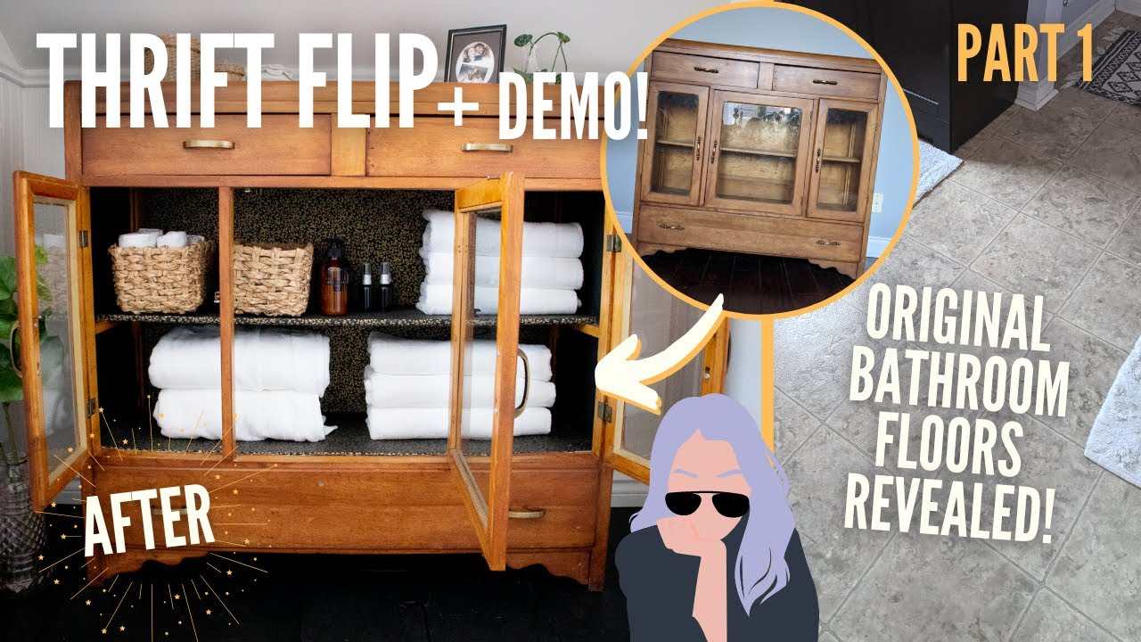 *farmhouse inspired* diy cabinet thrift flip + bathroom floor renovation Part 1 | HOME MADE HOME EP4