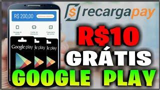 R$10 Reais Grátis Gift Card Google Play com App RecargaPay (R$10 Reais Grátis Recarga de Celular)
