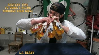 Fastest Time To Drink 6 Beers Through Your Nose | L.A. BEAST