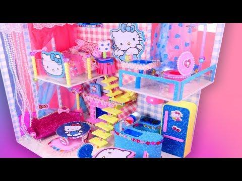DIY Miniature Dollhouse Hello Kitty Bedroom, Kitchen, Livingroom and Bathroom~