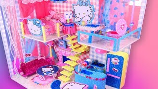 DIY Miniature Dollhouse Hello Kitty Bedroom, Kitchen, Livingroom and Bathroom~