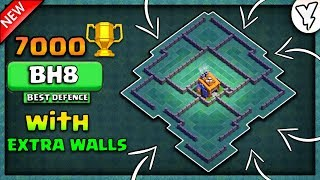 MOST INSANE BH8 BASE WITH EXTRA WALLS | BEST BUILDER HALL 8 BASE 7000+ TOPHIES TESTED✔  | NEW 2018