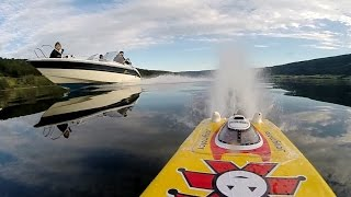 RC catamaran testing, twin motor, 6S - beautiful big lake