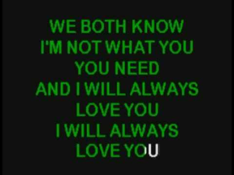 Whitney Houston I Will Always Love You Karaoke Youtube