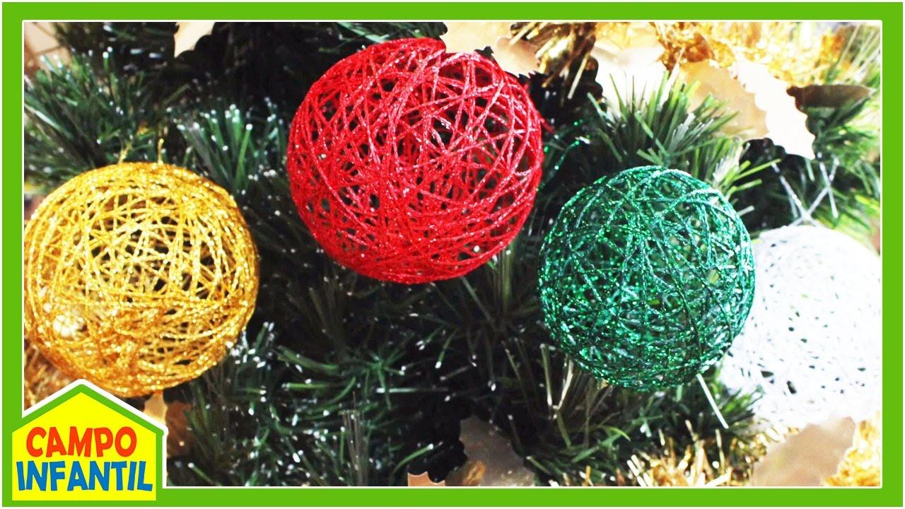 Esferas de estambre para navidad manualidades campo - Manualidades infantiles para navidad ...
