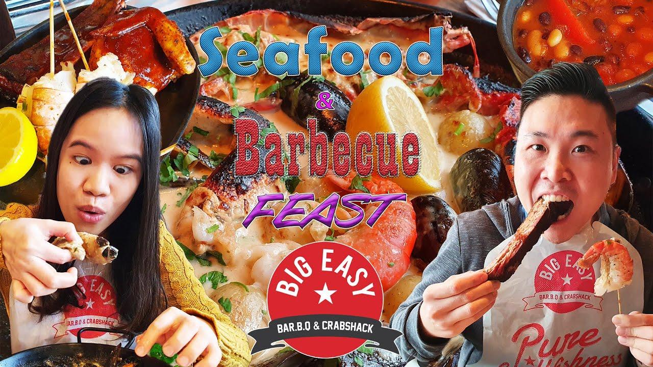 Eating Amazing Lobster & Crab 🦞🦀 and Smoky Ribs | Big Easy | London Yum Yum Adventure