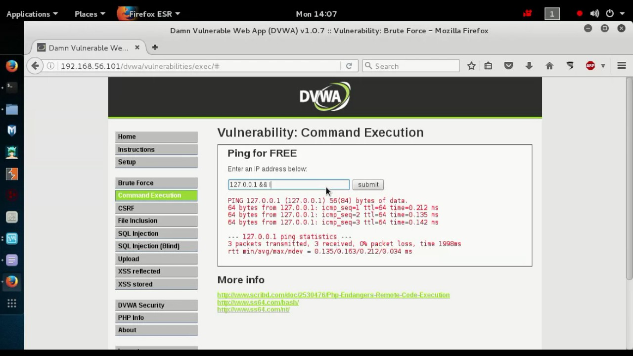 02 DVWA Low Command Execution