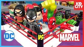 Marvel Superheroes vs DC Superheroes Toys Shake Rumble with Batman & Spiderman | KIDCITY