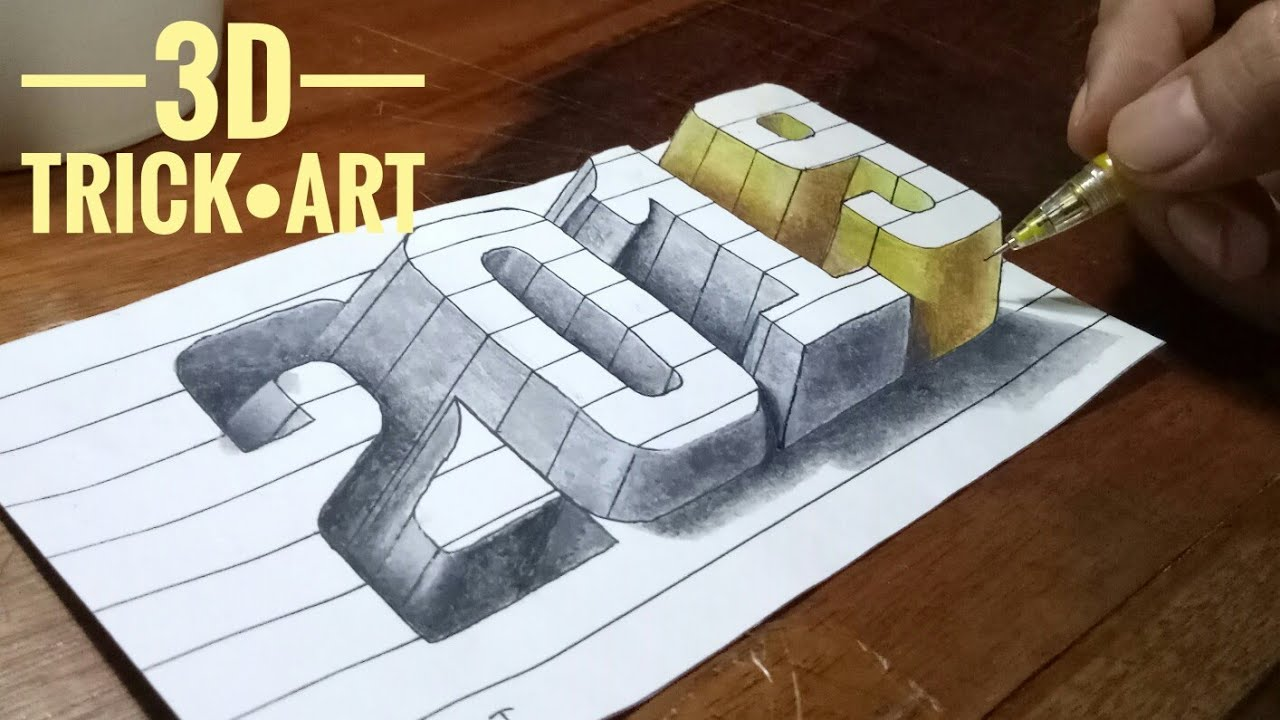 How To Draw 3d Happy New Year 2019 Numbers Cara Menggambar Angka 3d 2019 Youtube