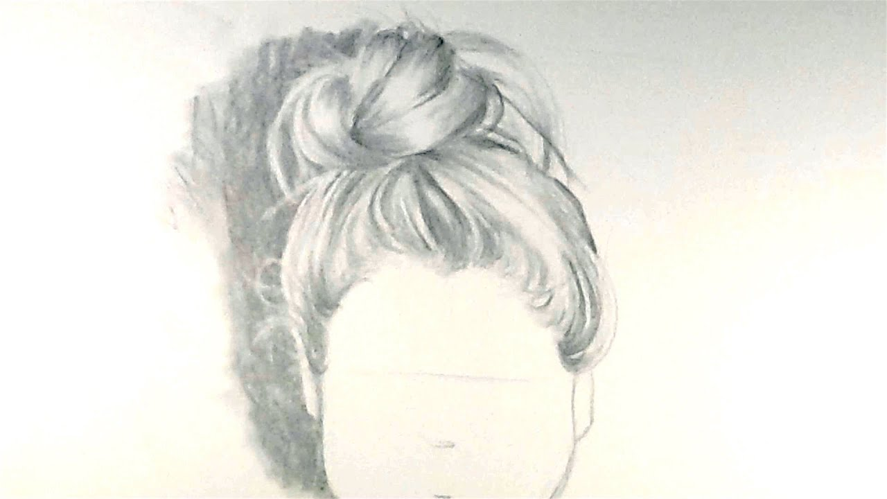 how to draw hair in a bun youtube