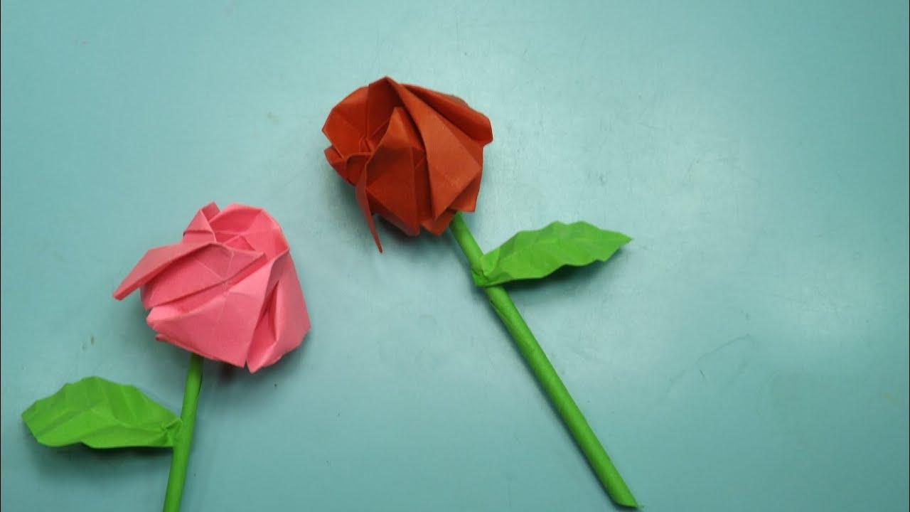 rosa de papel origami - rose tutorial - YouTube - photo#38
