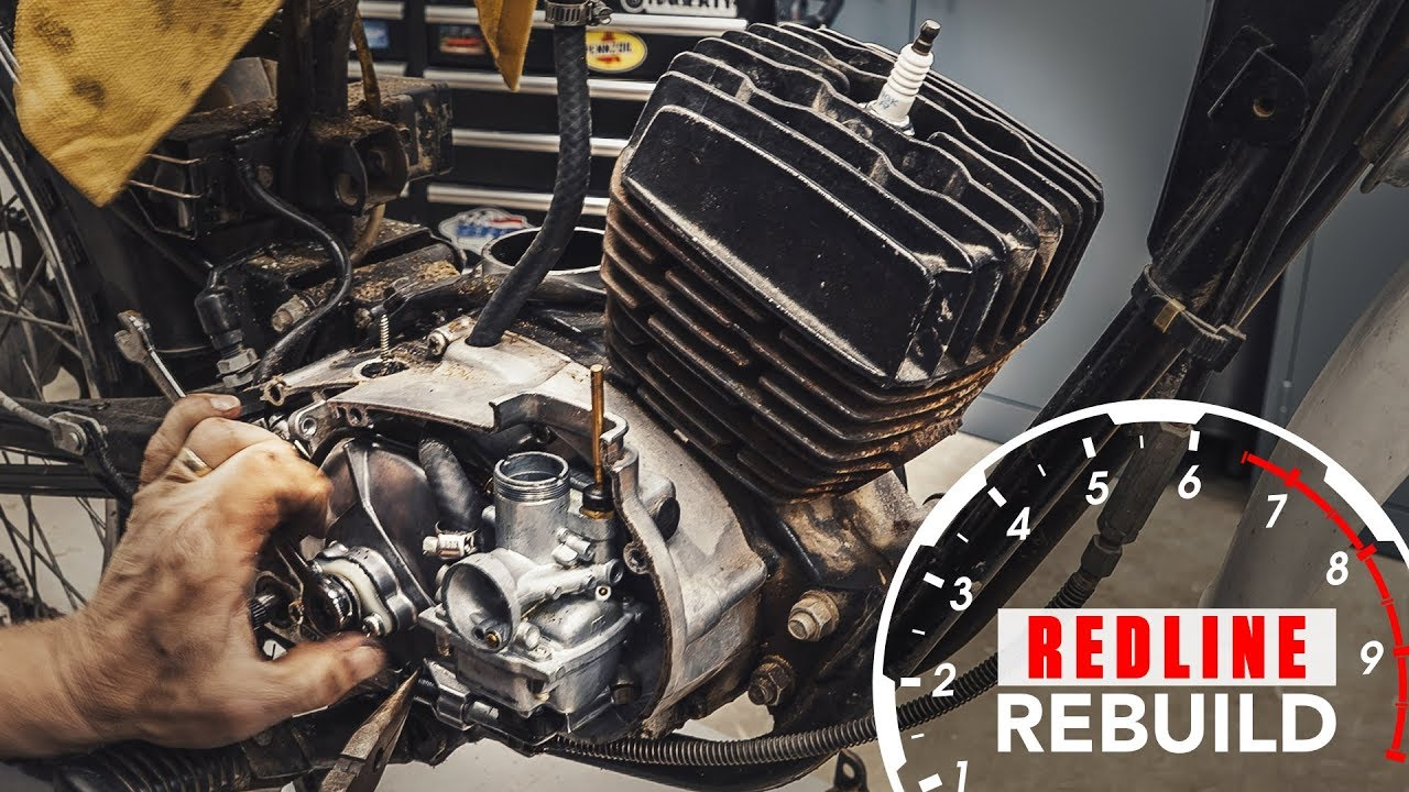 Twostroke engine rebuild timelapse  1978 Kawasaki KE100 motorcycle   Redline Rebuild S2E2