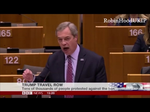 Nigel Farage eviscerates the EU Parliament hypocrisy on Donald Trump