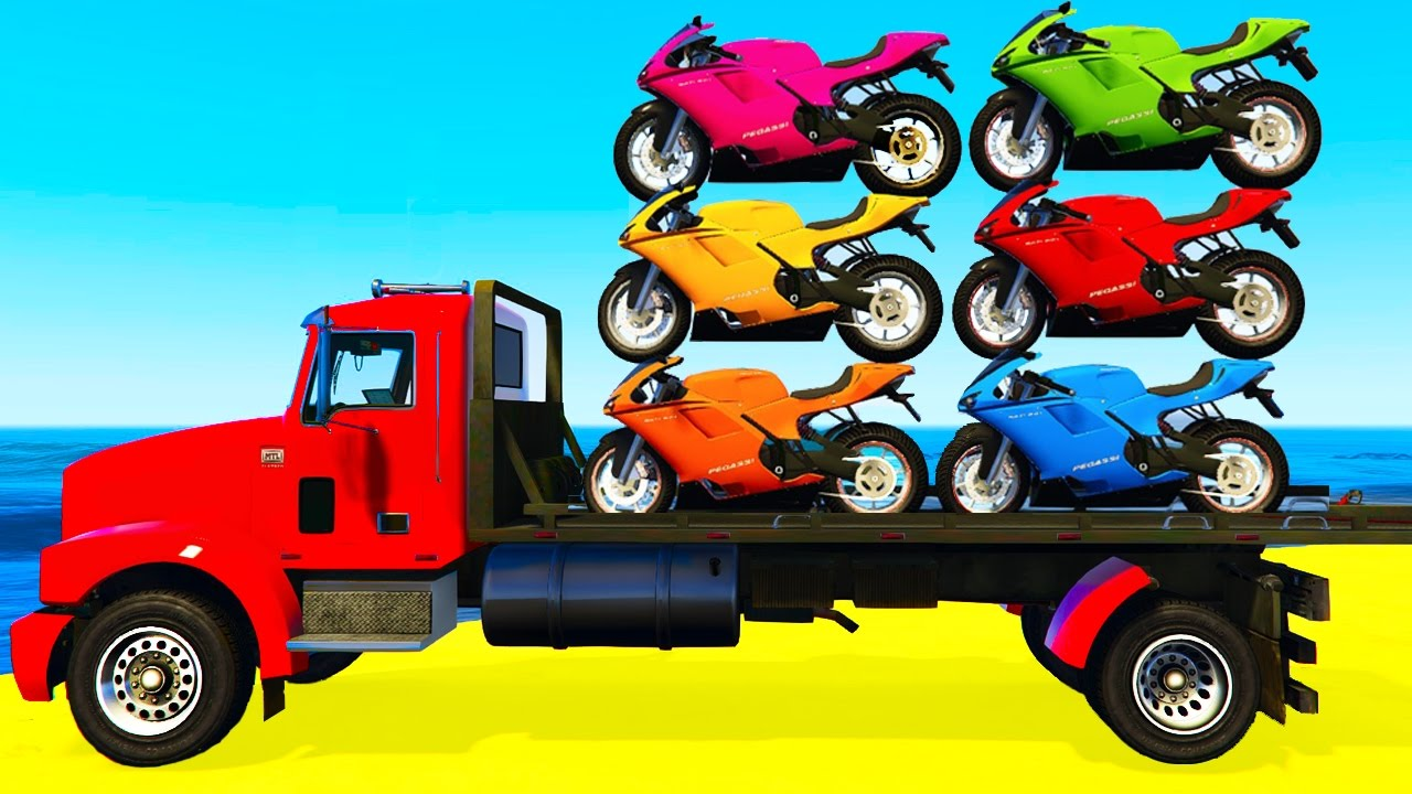 Colour cars rhymes - Color Motorbike On Truck And Spiderman Cars Cartoon For Kids Colors For Children Nursery Rhymes Youtube