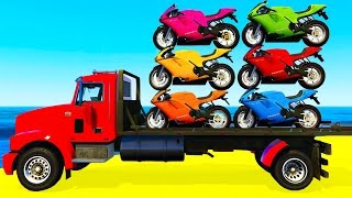 COLOR MOTORBIKE on TRUCK and Spiderman Cars Cartoon for Kids & Colors for Children Nursery Rhymes