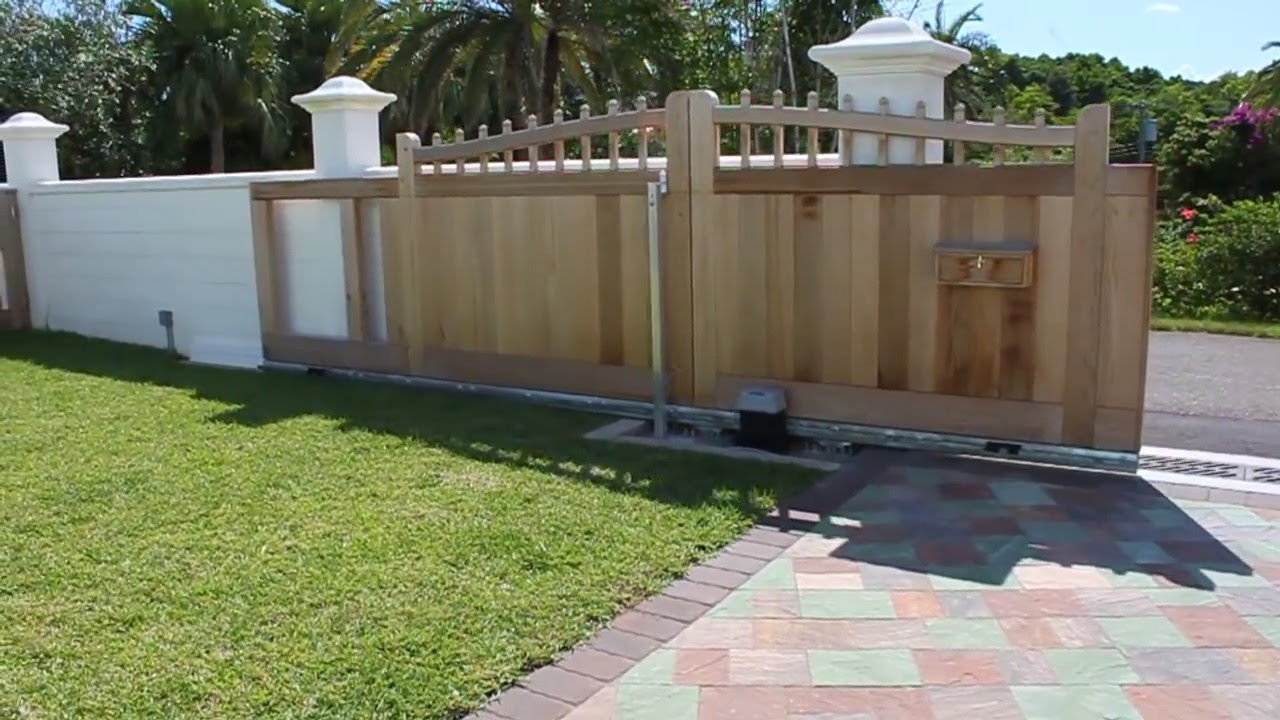 Wood Fence Door Design image of custom wood fence gates Wooden Sliding Gate Youtube