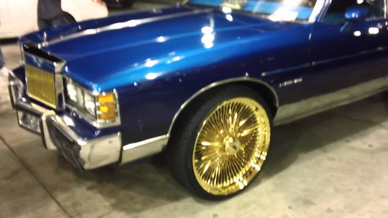"Lowrider Rims And Tires >> JOSE PAINT - CANDY BLUE BONNEVILLE ON 24"" ALL GOLD DAYTONS!! - YouTube"